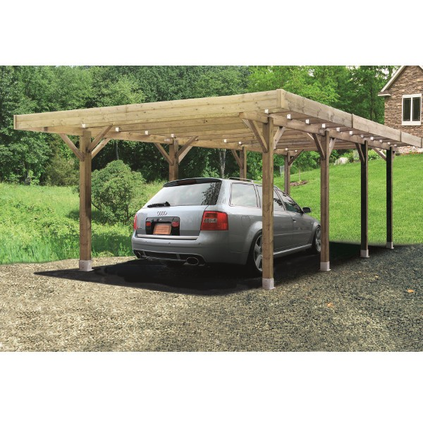 carport bois modulable 6 x 5 m solid toiture. Black Bedroom Furniture Sets. Home Design Ideas