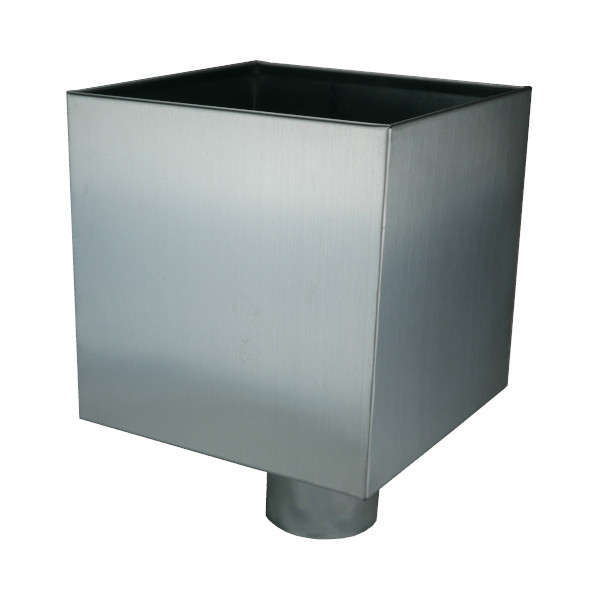 Boîte à Eau Zinc Naturel 20x20x20cm, diam 100 mm