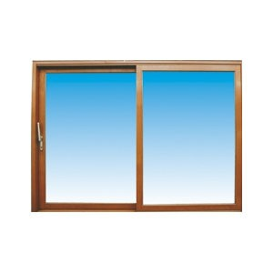 Baie vitrée coulissante en bois exotique, 215 x 220 cm, fixe à gauche