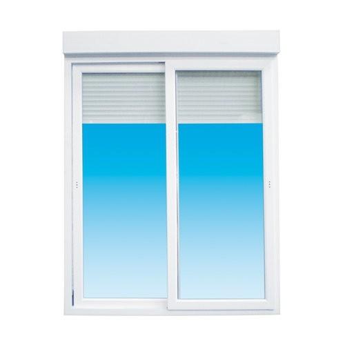 Baie vitrée coulissante PVC avec volet électrique, 215 x 180 cm