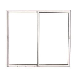 Baie vitrée coulissante en PVC blanc, double vitrage, 215 x 210 cm