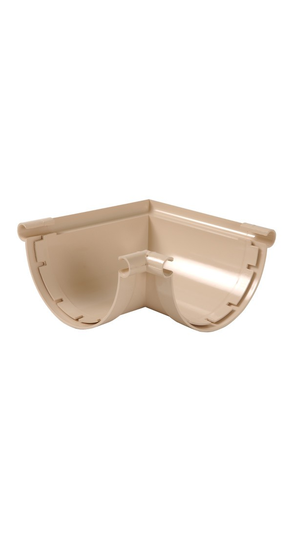 Angle 90° pour Gouttière PVC demi-ronde à coller Sable Nicoll, dev 33