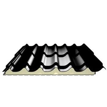 Panneau tuile isolé pour couverture - ep 40 mm, couleur gris ardoise