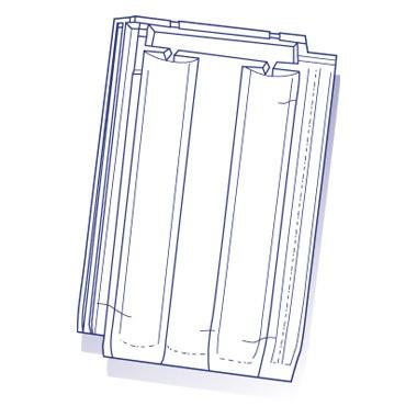 Tuile de verre PV10 Hugenot, ref LR n°79, carton de 8 U