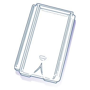 Tuile de verre Chagny Sesr, ref LR n° 581bis, carton de 8 U