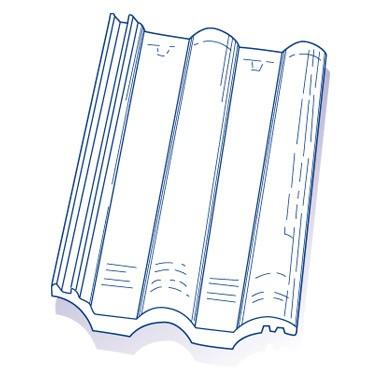 Tuile de verre Grande Romane TMB, ref LR n°59, carton de 6 U