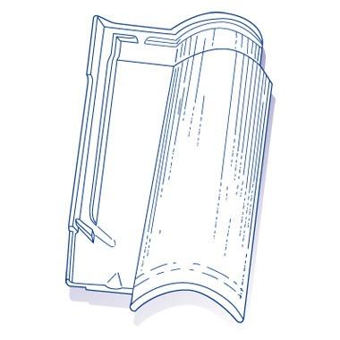 Tuile de verre Oméga 10, ref LR n°69, carton de 6 U