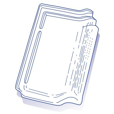 Tuile de verre Panne H2, ref LR n°4, carton de 8 U