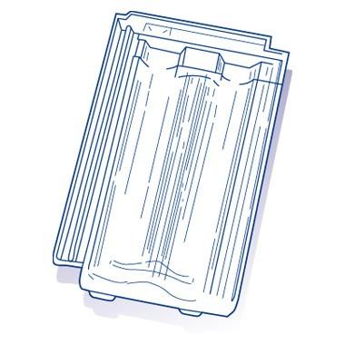 Tuile de verre Pétrin, ref LR n°21, carton de 8 U
