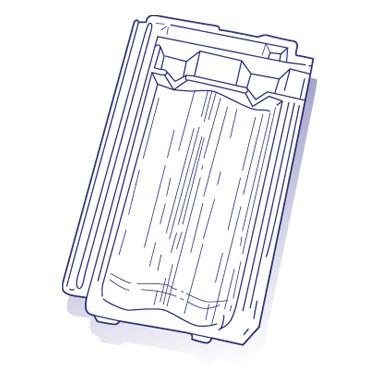 Tuile de verre Téting ou Alsace Sud, ref LR n°103, carton de 8 U