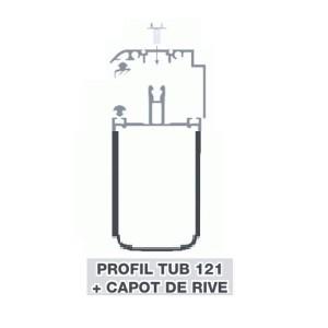 Kit Rive Profil Tube 121 + Capot - 55 mm - Alu - Longueur de 2 m à 7 m