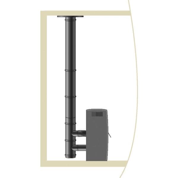 Kit raccordement Cheminée Pellets Vertical Inox étanche diam 80 mm
