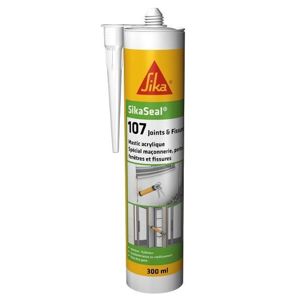 Mastic Acrylique SIKASEAL 107 Blanc pour Joints et Fissures, 300 ml
