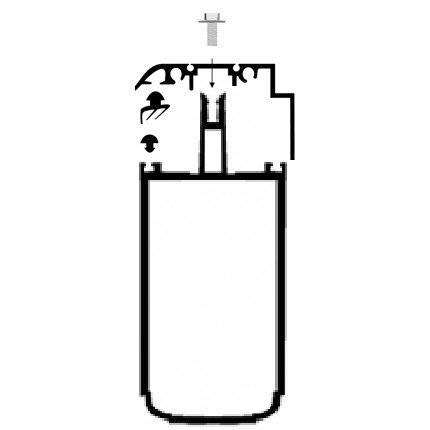 Kit Rive Profil Tube 121 + Capot - 16 mm - Gris RAL 7016 - Longueur de 2 à 7 m