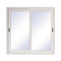 Baie vitrée coulissante en aluminium blanc, 215 x 210 cm