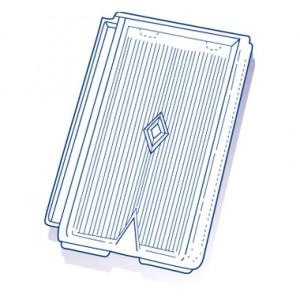 Tuile de verre Losangée Roumazières, ref LR 143, carton de 8 U